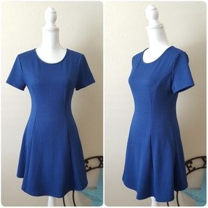 Forever 21 Royal Blue Textured Skater Dress